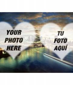 Photomontage with a Brooklyn Bridge photo in New York and two semitransparent hearts to put your photos