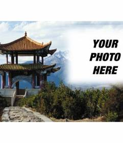 Photomontage in China with a landscape and a typical Chinese building and semitransparent where you can place your photo