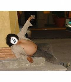Photomontage of a drunk fat man lying on the ground where you can place the face of anyone you want and add some text