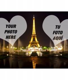 Photomontage with the illuminated Eiffel Tower in Paris and two hearts where to place your photos
