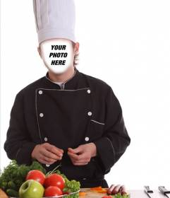 Photomontage of a chef with hat and uniform cooking to customize online