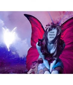 Photomontage of a lilac forest fairy with large fuchsia wings beside another glittering fairy with which you can create many photomontages