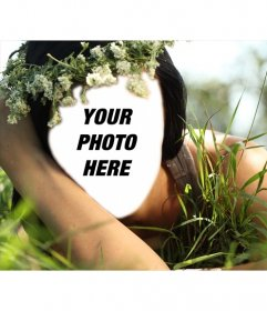 Photomontage of a fairy forest to put your face and customize free