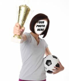 Photomontage with a girl football player holding a trophy and a soccer ball