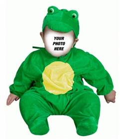 Photomontage of a green frog costume to put your babys face