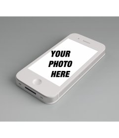 Photomontage to add a photo online to the screen of a white iphone and customize with a free phrase