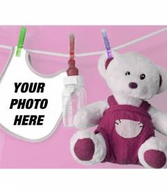 Photomontage with a bib and stuffed Soito to put a picture of your newborn baby girl with pink background