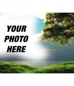Photomontage with a landscape with the sea in the background and a tree in the green field where you can upload a picture that will appear integrated with the blue sky