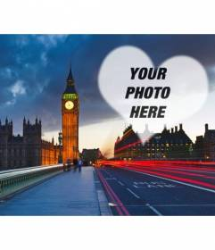 Love photomontage in London with the Big Ben in the background and a semitransparent heart to place the photo you want