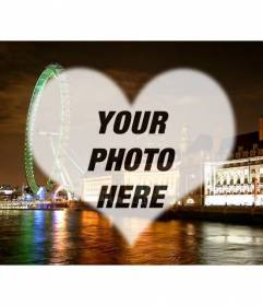 Photomontage of love in London with a London eye and landscape shaped frame heart where you can put your photo