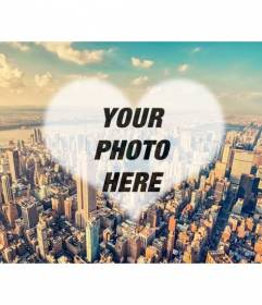 Collage with a photo of New York and your photo inside a heart. Create a photomontage with your photo in an aerial view of Manhattan
