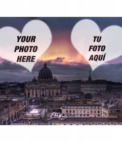 Collage of love with a photograph of Rome and two hearts in which to put your photo of you and your love