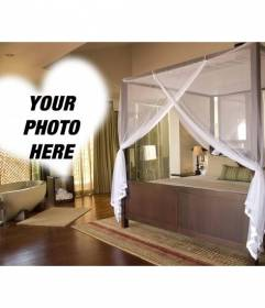 Photomontage on a romantic hotel with a lovely bed and bath in the room and a heart shaped frame to put your photo