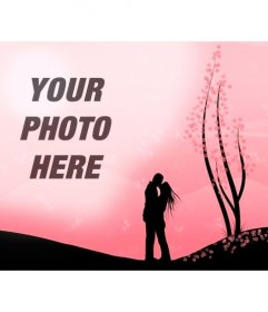 Creates a romantic montage with this image of a couple kissing in a landscape with pink flowers and the image you upload online