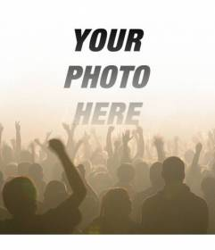 Photomontage with a picture of crowd of people in a concert at a music festival