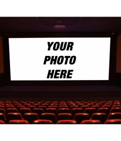 Put a picture on the big screen of a movie in front of the stalls and make your own movie scene