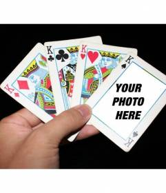 Photomontage with poker cards where you can put your photo in one of the cards and add a free text