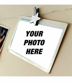 Photomontage with a holiday postcard where you can place your photo and add text