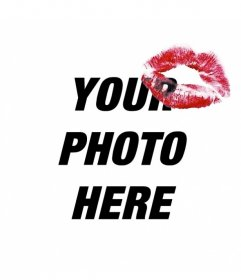 Create photo collages with your photos adding the mark of a red lipstick kiss on a corner and text anywhere