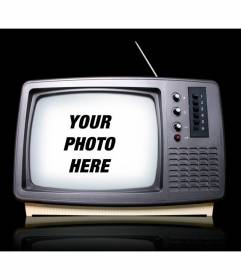 Photomontage with a retro television where you can place your image as if you appear on a TV show