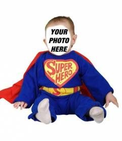 Dress up your baby with this tender photomontage of blue Superhero with red cape