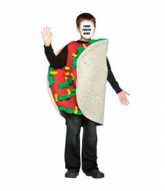 Photomontage of a child dressed as a taco to add your face