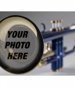 Photomontage with a trumpet to put the picture you want and add some text