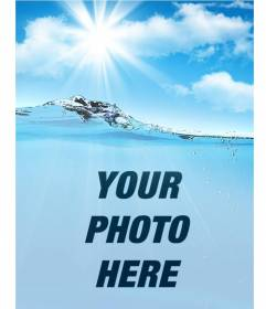 Collage with a picture of water and sky to put your photo and customize with your text online