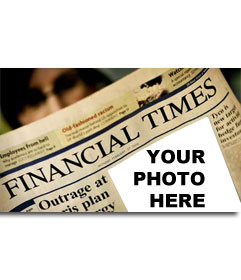 Photo montage of the Financial Times. Upload your photo and the cover of the business paper