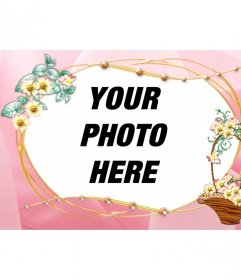 Customizable photo frame with a picture of pink background and trimmed flower basket