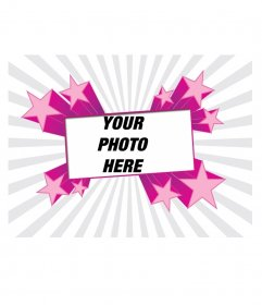 Photo frame with fuchsia star shapes. To put your picture in the background and decorate your profile!