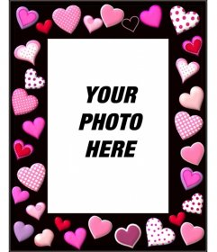 Photo frame with pink hearts and black background