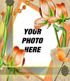 Template frame with flowers and your photo