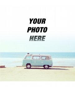 Hipster photomontage with a van
