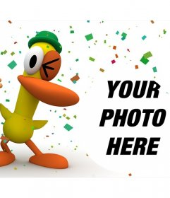 Pocoyo and Duck in a fun party where you can put your photo