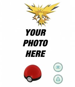 Catch the electric Pokemon Zapdos with this editable photomontage