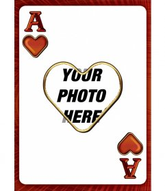Photo frame with the ace of hearts