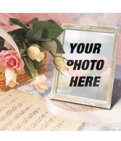 Photoframe online where you can put your picture in a picture frame with a basket of roses and a music score
