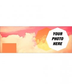 Photomontage of a cover photo for Facebook with pink clouds