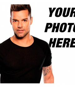 Pose next to singer Ricky Martin with these montages