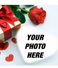 Love card in which theres a gift, hearts and a rose. You can put your picture inside a heart