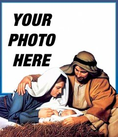 Jesus birth Christmas card to upload your photo