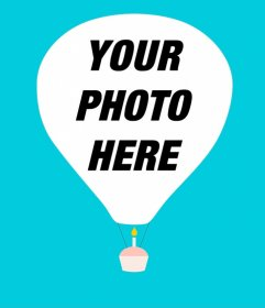 Minimalist greeting card with your picture on a balloon and a floating cupcake