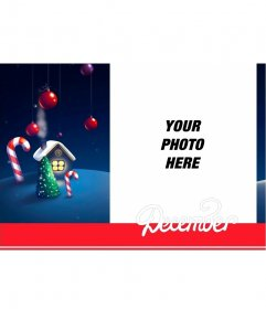 Card of December to edit with your photograph for free