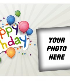Birthday picture frame for a photo