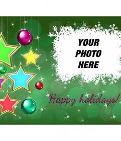 Happy Holidays postcard with stars to modify online