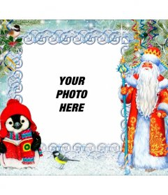 Christmas postcard with San Jose and Maria with many details