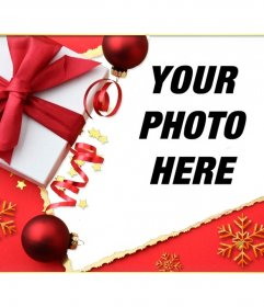 Christmas card with a gift and a tie to put your picture