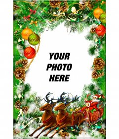 Christmas postcard to personalize with a wreath and Santa Claus