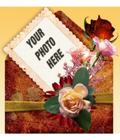 Photo frame with orange background and decorated with roses